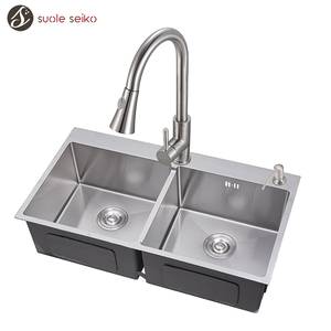 High Quality Custom Deep Double Bowl Farmhouse Kitchen Sink With Drainer