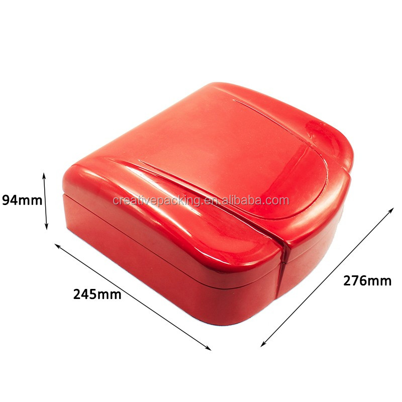 Shell Shape High Gloss Red Wooden Box With Hinged Lids