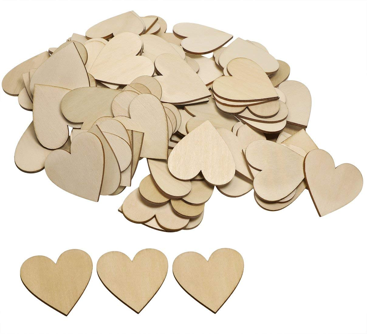 Shapenty 2 Inch/50MM Unfinished Blank Name Tag Wooden Heart Shaped Slices Discs DIY Craft Pieces for Wedding Ornaments Christmas Party Embellishment, 100PCS (Without Hole)