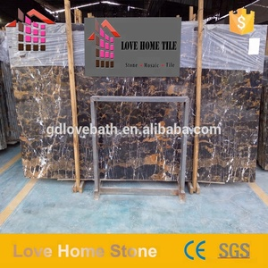 High quality factory black gold color emperador dark marble slab