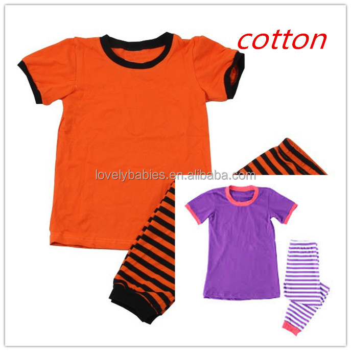 Girls knit cotton solid T-shirt strip outfit .wholesale kids boutique clothing
