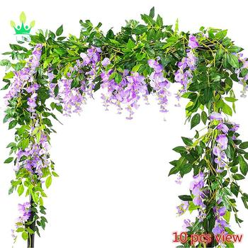 Meiliy Artificial Flowers Vine Silk Wisteria Ivy Rattan Hanging Garland For Wedding Decor Multiple Colors Jasmin Flower
