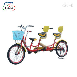 Fashionable 3 seats surrey bike for a family/child seats+non- slip handlebar/Fun Pedal Family Quadricycle