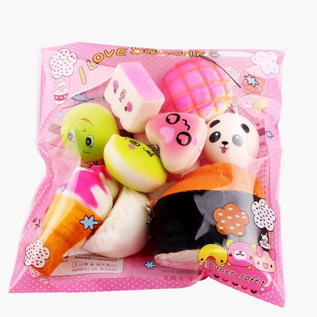 Squishies Slow Rising, ZLOSKW 10pcs Medium Mini Soft Squishy Bread Toys Key