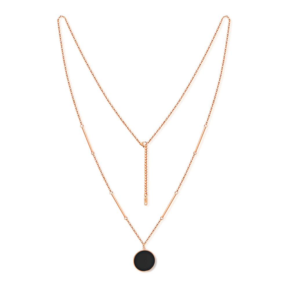 <strong>Fashion</strong> rose gold simple black round pendant necklace womans stainless steel long necklace