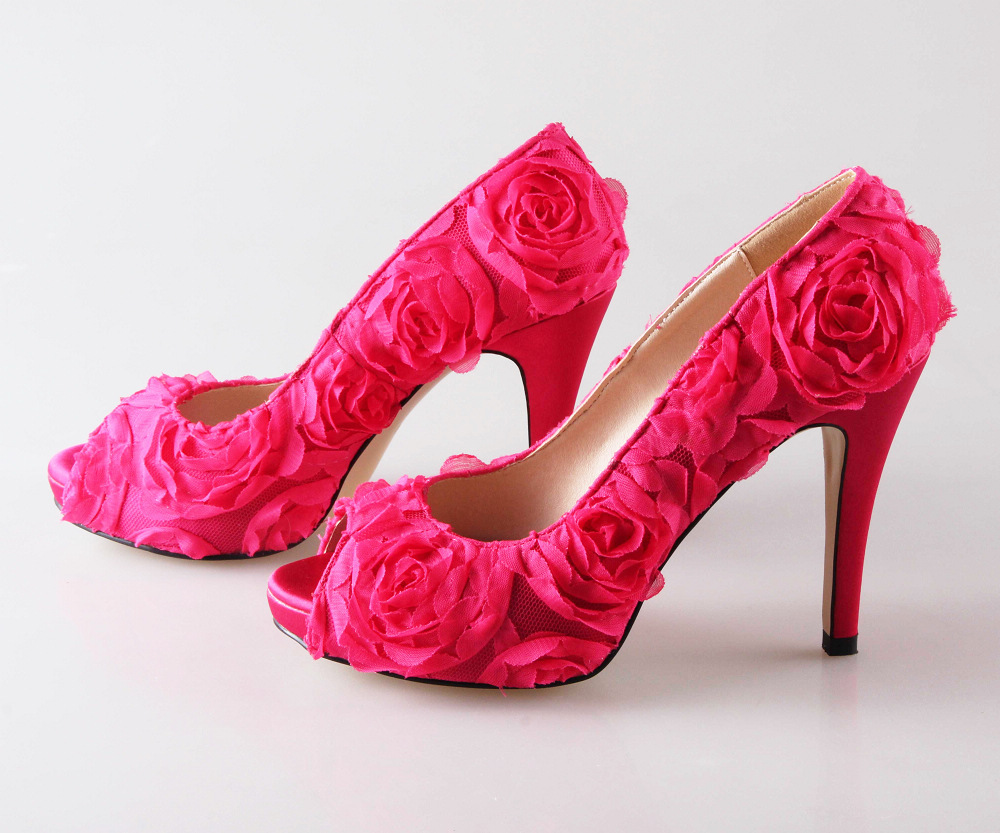 Pink Wedding Shoes Low Heel: Pink Small Heels