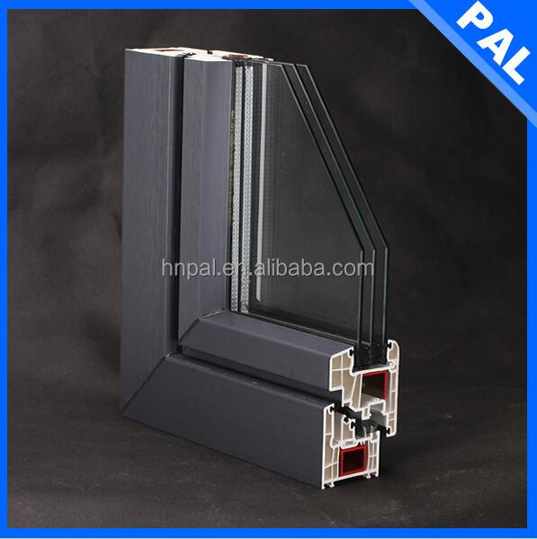 high end home used wooden color kinbon profile frosted glass pvc awning window