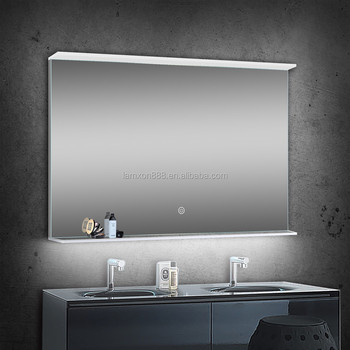 2018 New Design Bathroom Acrylic Lighted Illuminated Mirror With Glass Shelf