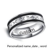 Какана Высокое качество черный с серебром нержавеющая сталь мужское кольцо персонализированные пользовательские модные ювелирные издели...(Китай)