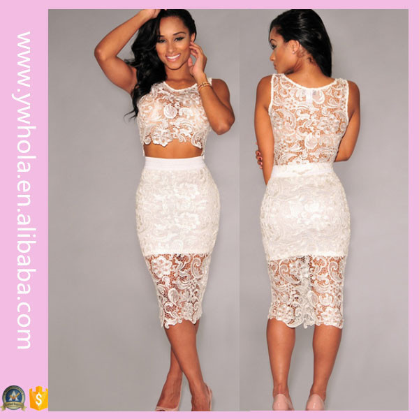 2016 Latest Net Dress Designs Tight Sexy White Sleeveless Lace Knee Length Dress