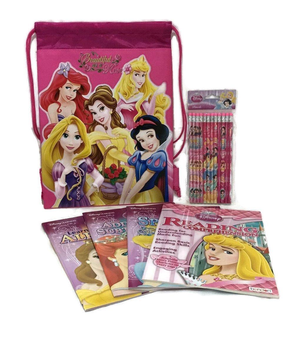 Princess Learning Workbook & School Supply Bundle: 6 Items- Four Princess Themed Workbooks, One Pack of A Dozen Princess Pencils, Plus One Princess Drawstring Carrying Bag