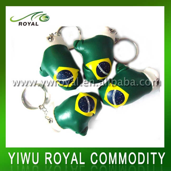 Brazil Flag Imprint Custom Mini Boxing Glove Key Chains