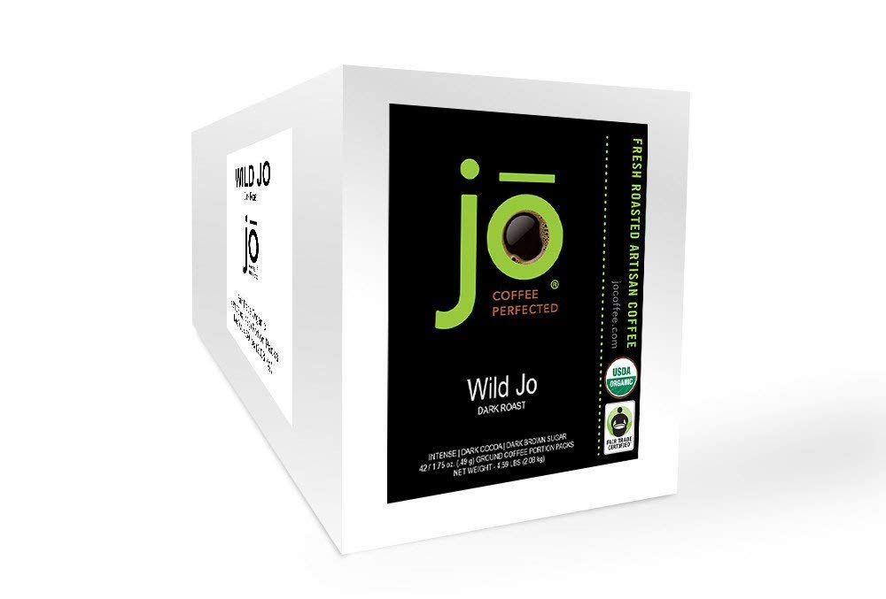 WILD JO: 42/1.75 oz Organic Ground Portion Pack Coffee, Dark Roast, Bold Strong Rich Wicked Good! Fair Trade Certified, 42/Unit Case, For Home, Office Coffee, Upscale Restaurants, Camping or Travel