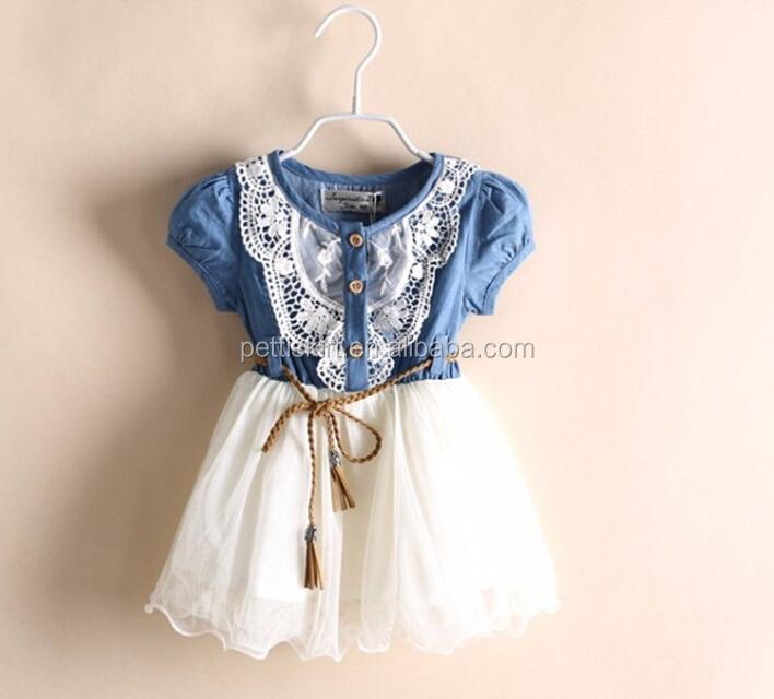 4f062926fec Summer Girls Denim Frocks Lace Ruffle Tutu Vintage Dresses - Buy ...