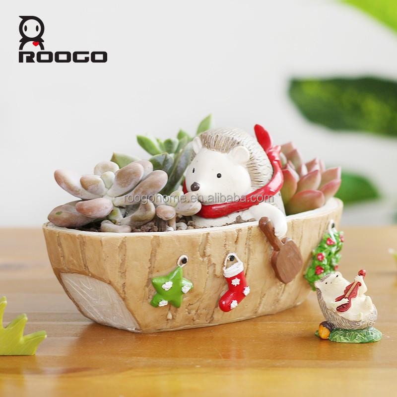 roogohome al por mayor ventas de navidad decoracin resina maceta que erizo encantador justo el canotaje