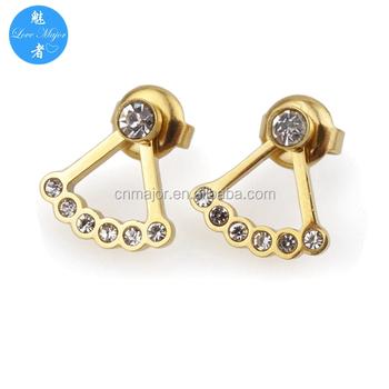 Gold Stainless Steel Lotus Flower Earrings Cuffs Stud Earrings