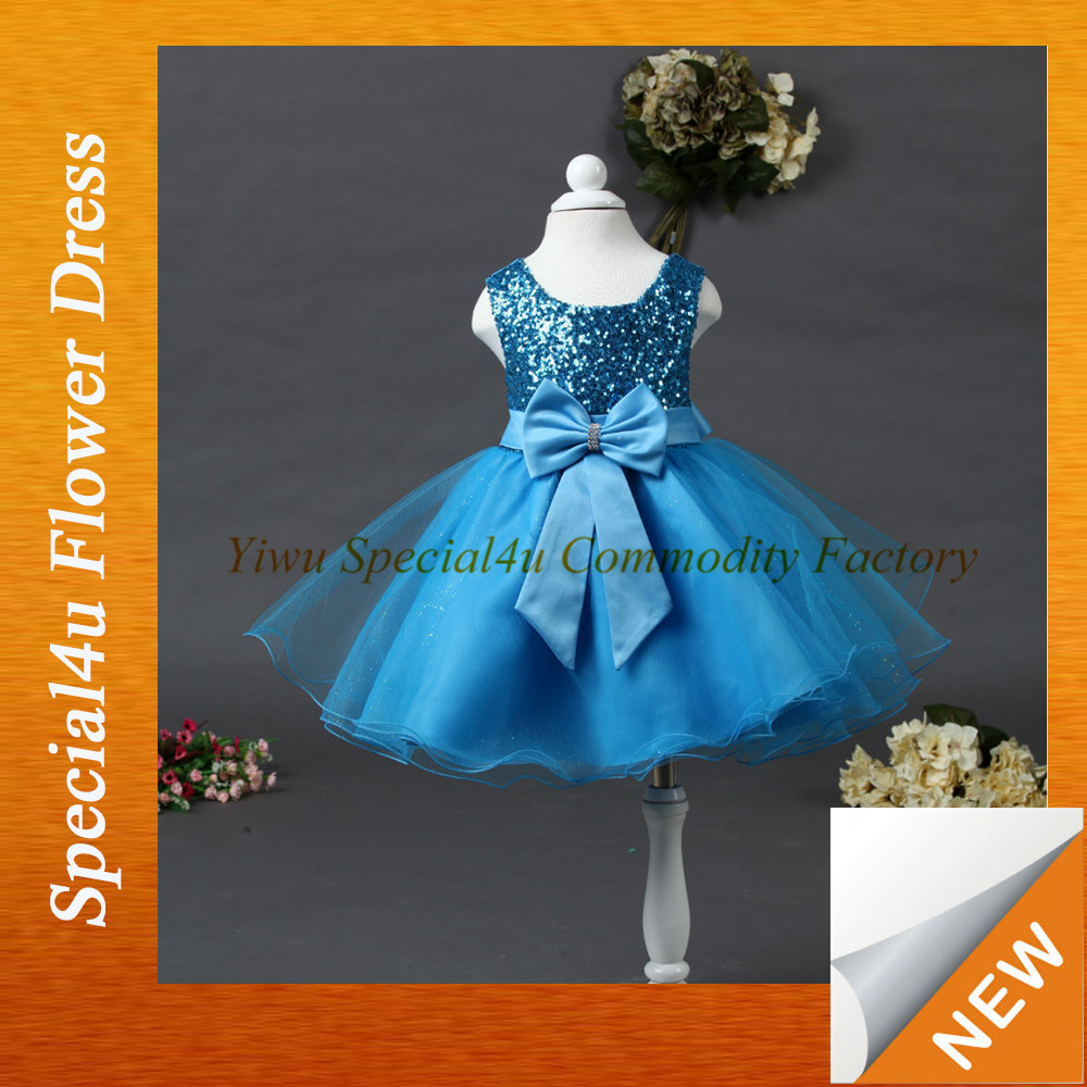 Fashion design wholesale children clothes blue chiffon little baby girls dresses SPSY-1150