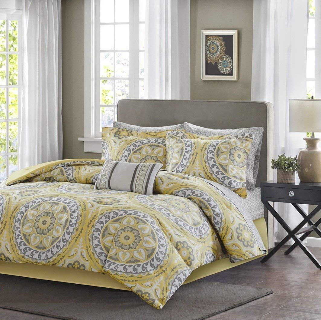 UKN 9pc Yellow Medallion Comforter Queen Set, Floral Paisley Mandala Motif Themed, Damask Flower Pattern Design, Bohemian Boho Chic Bedding, Grey Golden Light Gray