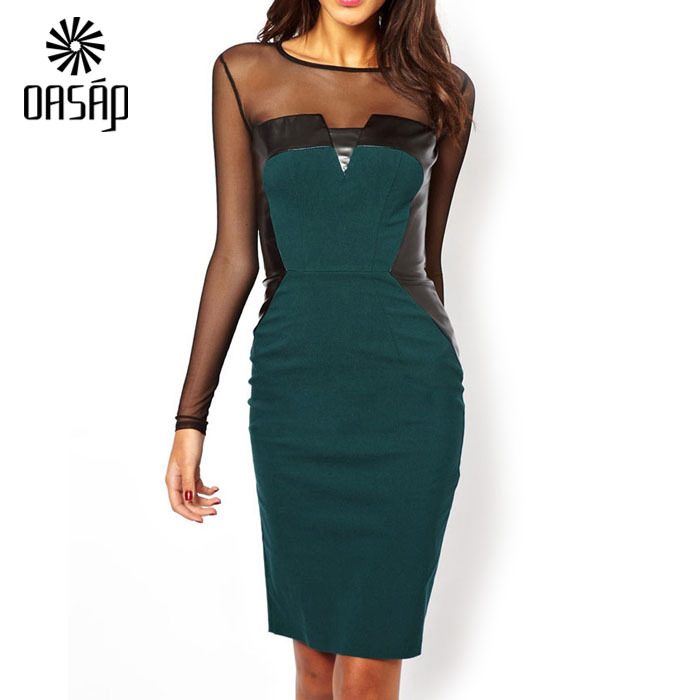 Get Quotations · OASAP vestido de verao Green Midi Dress with PU and Mesh  Inserts with keyhole back long 4dfcb56e0ae3
