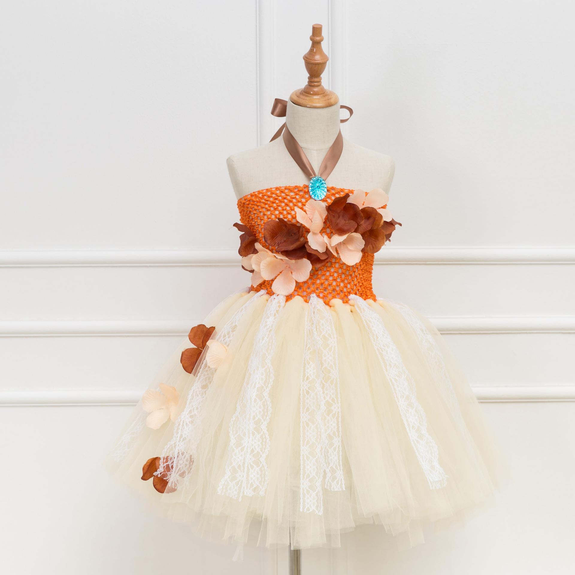f07222bbf89ec Children Lace Flowers Girls Tutu Dress Fancy Girl Party Birthday Dress  Tulle Princess Dress Kids Halloween Christmas Cosplay Costume