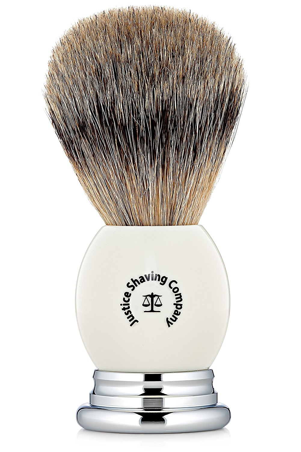 Justice Shaving Company's Super Badger Hair Shaving Brush with White Handle - Have a Premium Super Badger Brush Shave Experience - a Great Foundation for Your Wet Shaving Kit