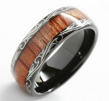 Wedding Band Koa Wood Ring Smarty Ceramic Engagement Mens Womens Black Rings With