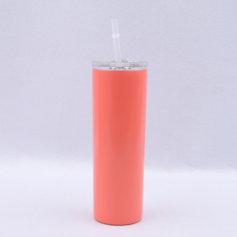 Wholesale Christmas Gift Double Wall Vacuum Insulated 20 oz Stainless Steel Skinny Tumbler with Lid and Straw