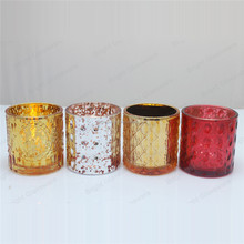 Decorative Colored Glass Candle Containers, Votive Candle Holders