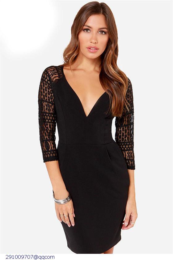 481388c3ffe Get Quotations · Black Lace Sleeve Mini Dress Sevgili Elbiseleri Lace  Dresses Abito Da Sera Formale Beach Dresses Sundresses