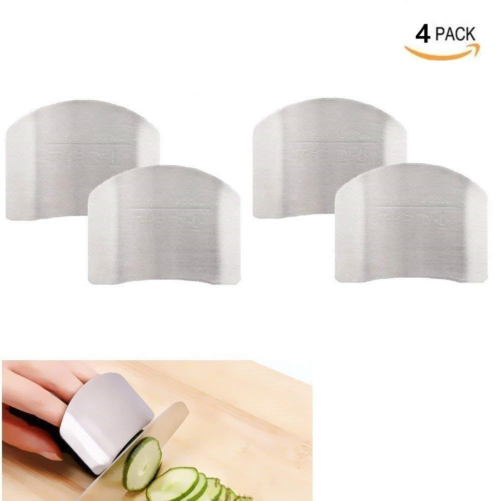 Lemoy 4 Pack Stainless Steel Finger Guard Finger Protector Safe Knives Guard Chop Safe Slice Kitchen Tool For Dicing and Slicing in Kitchens