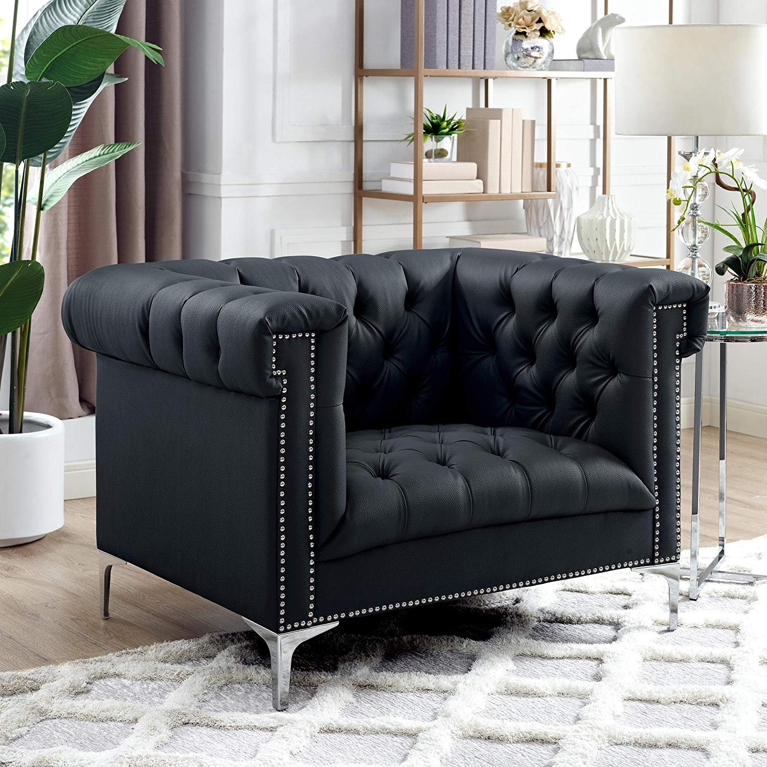 Fabulous Buy Lincoln Modern Black Leather Silver Nailhead Trim Swoop Pabps2019 Chair Design Images Pabps2019Com