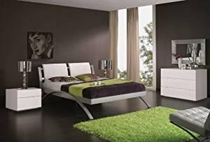 ESF Nina 390 Modern Metalic Frame Platform Bed White - King Size