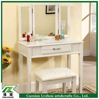 French country style White Dressing Table mirror design