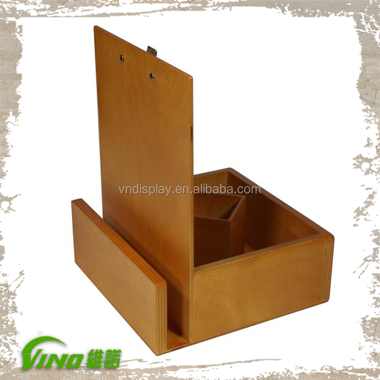 Wooden menu holder table stand menu holder restaurant for Table menu restaurant