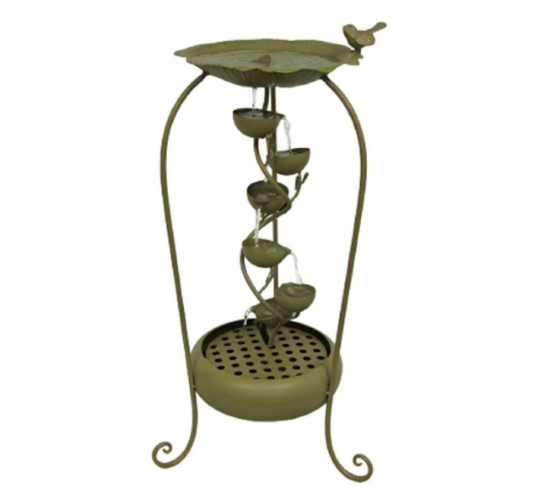 MyEasyShopping Gold Finish Metal 6 Leaf Tier Fountain Indoor/Outdoor, 16 x 16 x 32