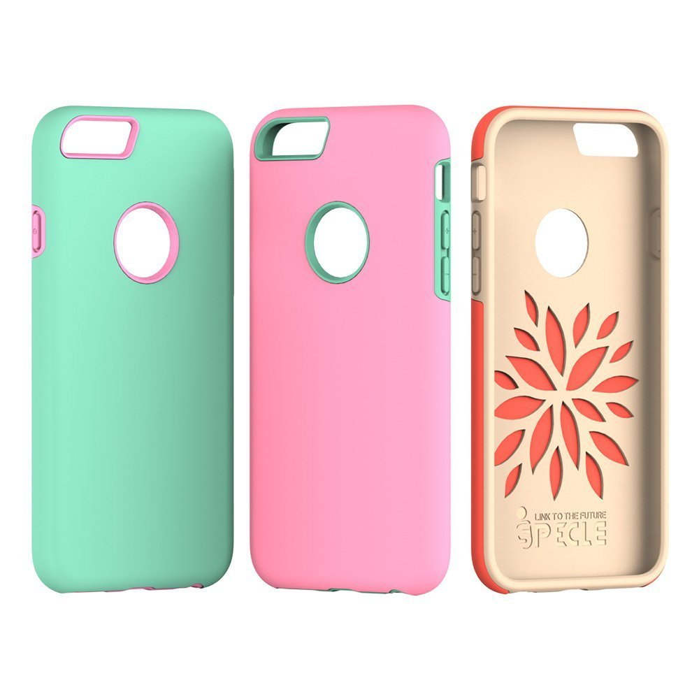 iSPECLE 3 Pack iPhone 6S Case iPhone 6 Case with Shockproof TPU Bumper and Anti-Scratch Thin Back Cover - Slim Protective iPhone 6 / iPhone 6s Case for Girls ( Pink & Mint Green & Orange )