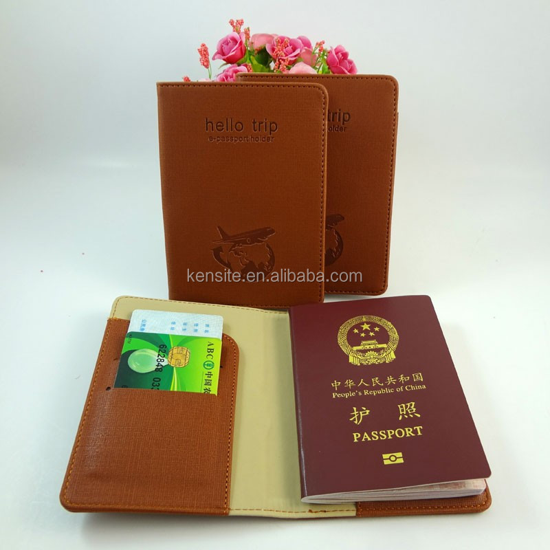 brown fake leather passport sleeve china direct factory
