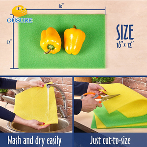 Environmental Washable green wave open cell vegetable and Food Fruit Salad Veggies fresh refrigerator filter Liner Mats