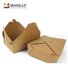 OEM Wholesale custom disposable wax coated white brown kraft food box paper food parcel box for food