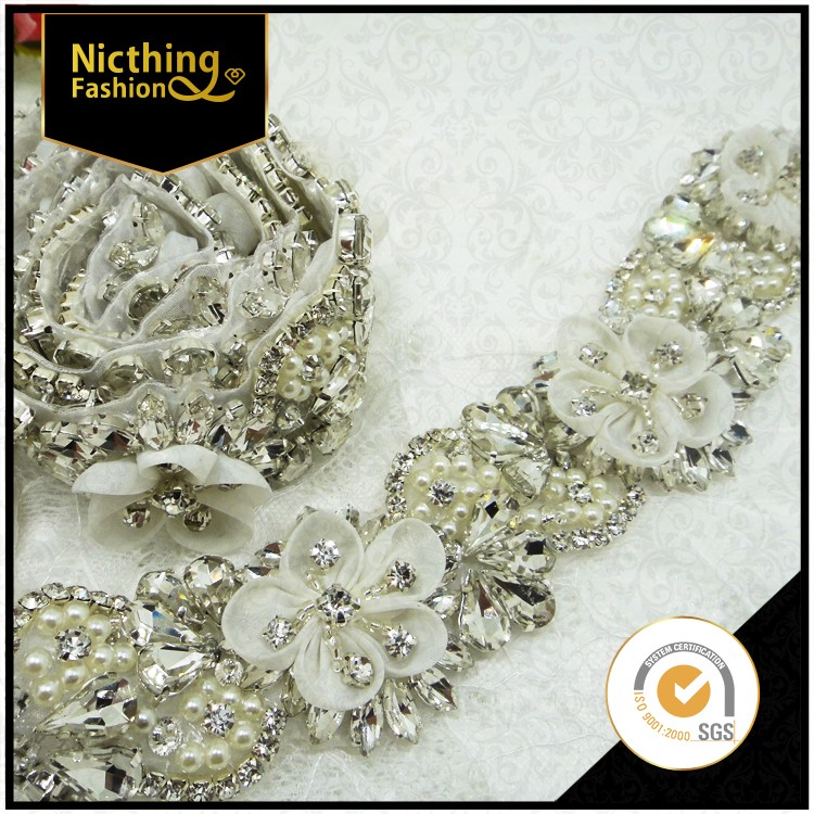 Fashion rhinestone and beading trim by the yard, new design beads crystal decorative trim wholesale, trimmings for dresses