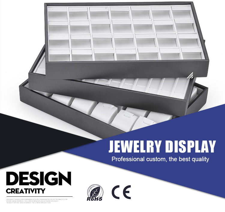 Custom OEM  Engrave Logo Shop Counter Jewelry Ring Display Tray In Wood