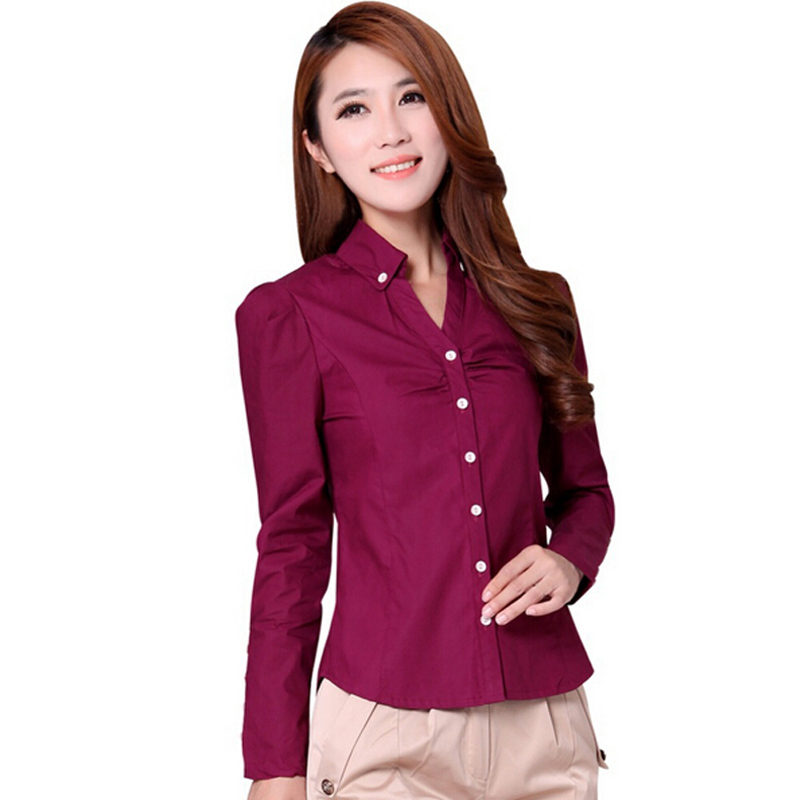 346cc6a97da15 Get Quotations · New Korean Lady Fashion White Shirts Plus Size S-3XL  Button Decor Career Clothing 2015