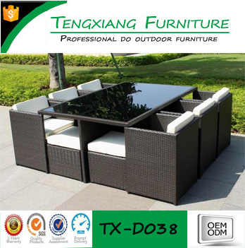 TX-D038 11pcs--Table/6 Chairs/4 Stools Concealed structure black rattan outdoor dining furniture