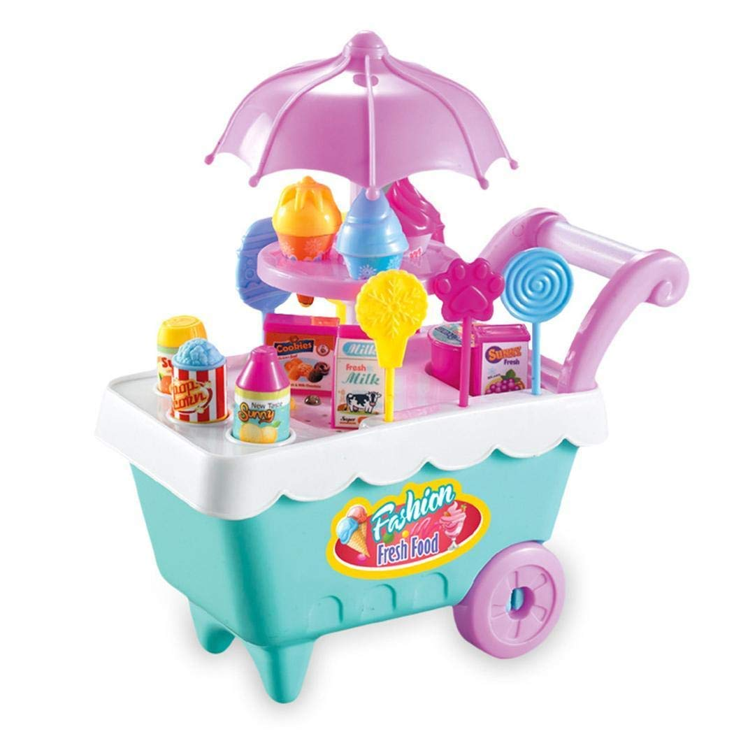 Dozenla 19Pcs Kids Rotating Ice Cream Candy Pretend Play Food Mini Supermarket Trolley Toys