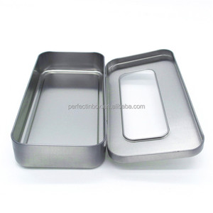 Fancy custom metal tin gift box with clear window on top and hinged lid