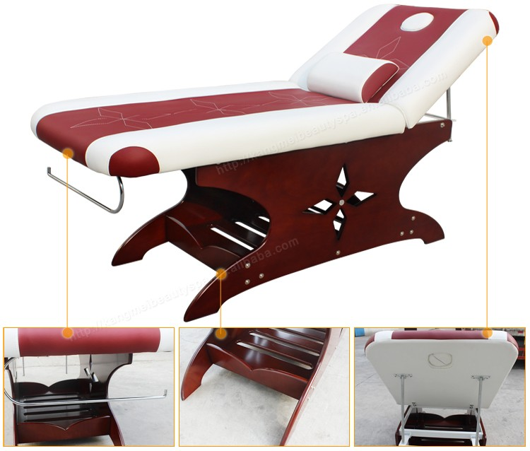 2016 hot sale wooden reclining adjustable salon facial bed wholesalers (8222)