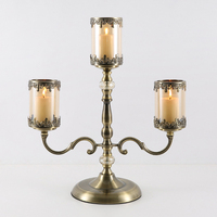 European Style Round Tall Metal Stand Candlestick Holder Clear Glass Gold Candelabra