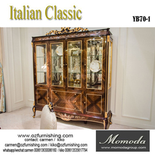 YB070-1antique solid wood display cabinet with glass door with European style for villa house furniture