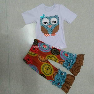 2pcs short sleeves tops with ruffle pants boutique outfits toddler junior children owl applique design boutique clothing set