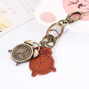 Wholesale bulk metal key ring alloy clock leather keychain for men